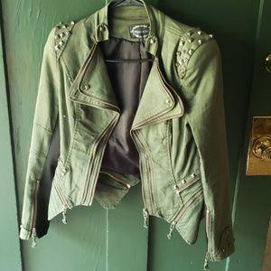 Army green denim studded jacket small